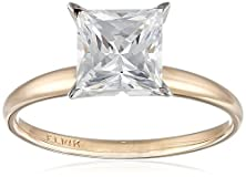 buy 14K Yellow Gold Princess-Cut Solitaire Ring, Made With Swarovski Zirconia (2 Cttw), Size 6