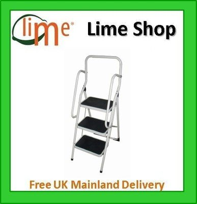 3-Platform Step Ladder with Safety Support Rails