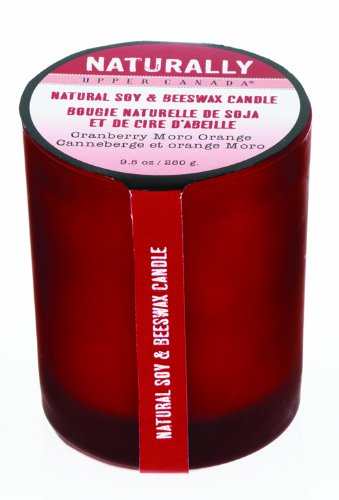Upper Canada Soap Naturally Soy & Beeswax Candle,  Cranberry Moro Orange, 9.5-Ounce