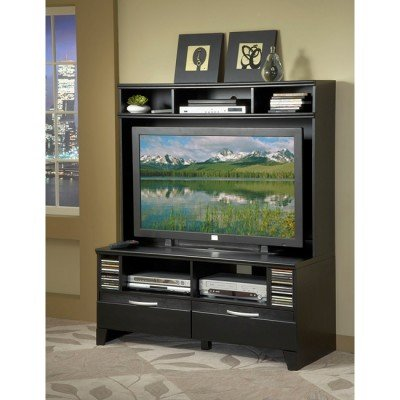 Cheap Bernards Furniture Black Plasma TV Stand with Hutch (7983, 7982)