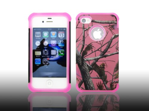 ANTI-SHOCK HYBRID 2 IN 1 PINK CAMO HUNTER IPHONE 4 4S COVER CASE PINK THICK SILICONE INSIDE AND HARD PLASTIC RUBBERIZED COVER OUTSIDE SALE