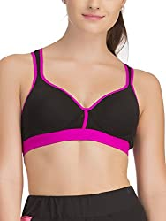 Clovia Padded Sports Bra In Black With Pink Trims & Broad Elastic