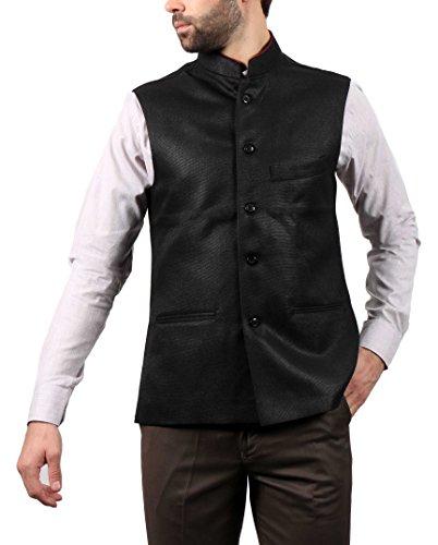 SOLEMIO Men Poly Cotton Ethnic Jackets (A15JK5500EBL_M_BL_Medium)