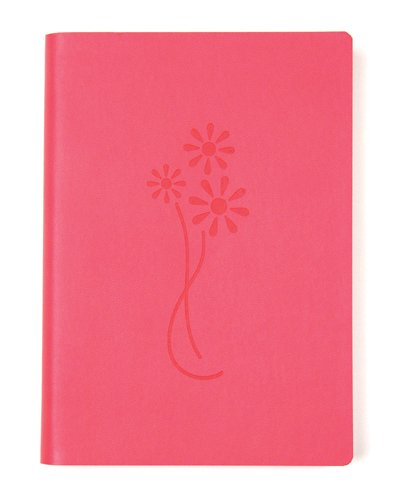 Pink Embossed Flower Leather Journal - Lined
