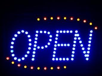 nled001-b Blue OPEN Geöffnet Offen LED Schild Neon Business Light Sign (40.6cm x 25.4cm) Neonlicht Lichtwerbung Leuchtreklame