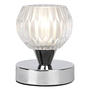 Modern Silver Chrome & Decorative Glass Touch Bedside Table Lamp