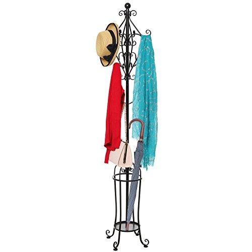 6' Freestanding Vintage Victorian Black Metal Scrollwork Coat Rack / Hat Hook Stand with Umbrella Holder