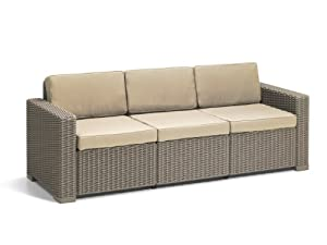 Keter Allibert California 3-Seater Sofa - Cappuccino with Sand Cushions