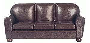 Aztec Imports Dollhouse Miniature Brown Leather Look Sofa