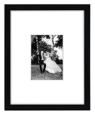 11x14 Black Picture Frame - Matted to Fit Pictures 5x7 Inches or 11x14 Without Mat; Glass Front; Ready-to-Hang