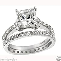 ParisJewelry Sterling Silver Princess Diamond Bridal Engagement Ring