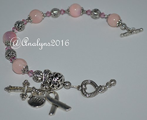 Faith Pink Glass Beads Bracelet for Breast Cancer Patients / Survivors - Catholic and Non-Catholic Christian - Great Gift for Mother's Day!