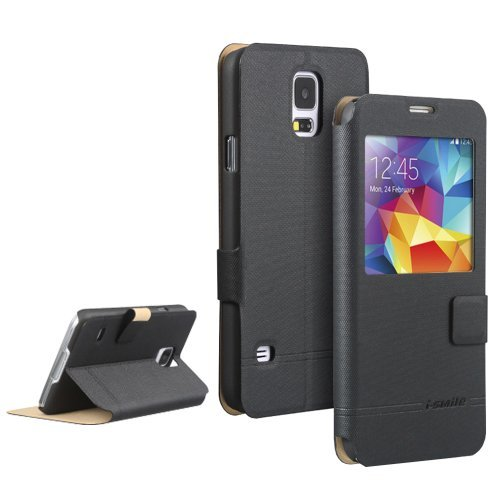 Moon Monkey Ultra-Thin Intelligent Window/Stand Function/Magnet Adsorption Slim Protective Case For Samsung Galaxy S5 (Black)