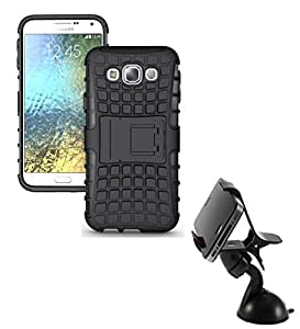 Aart Hard Dual Tough Military Grade Defender Series Bumper back case with Flip Kick Stand for Samsung E5 + Car Mobile Holder Mount Bracket Holder Stand 360 Degree Rotating by Aart store.