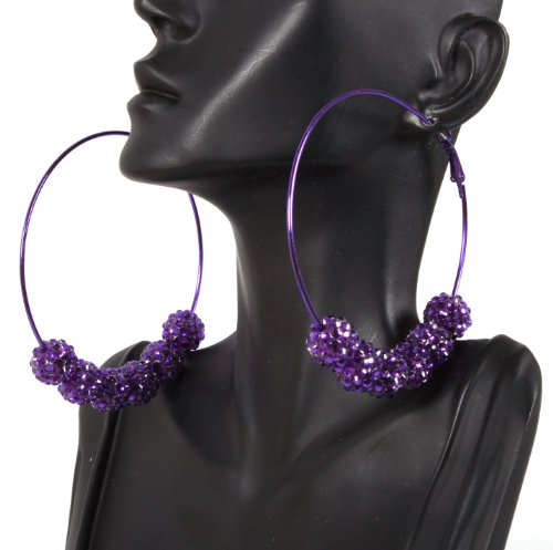 Basketball Wives Purple 3 Inch Hoop Earrings with Six 12mm Matching Shamballah Balls Paparazzi Mob Wives