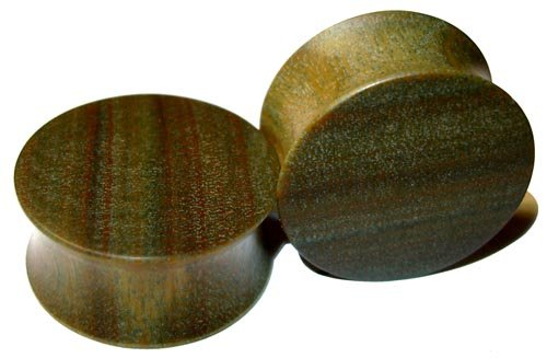 44mm Organic Lignum Vitae Double Flared Exotic Wood Plugs