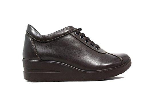 Only I sneakers donna zeppa media pelle marrone nuova collezione autunno inverno 2016 2018