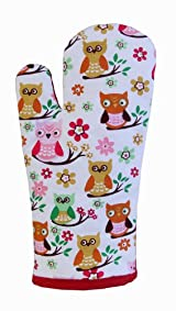 Pure Cotton Owls Red Blue Oven Glove - 18 x 32 cm