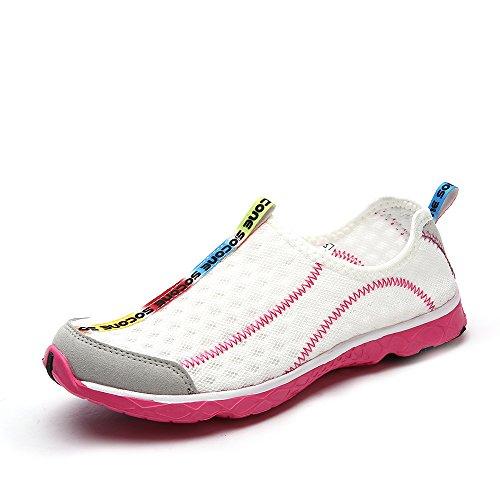 Aleader Women's Mesh Slip On Water Shoes White 8 D US