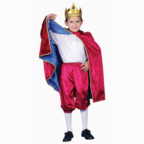 Deluxe Royal King Dress Up Costume - Maroon - Medium 8-10