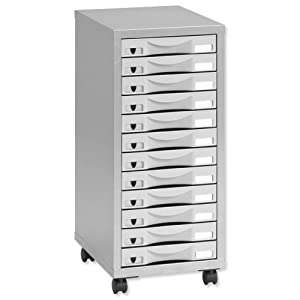 Pierre Henry 12 Multi Drawer Filing Cabinet   Silver/ Grey       Office Productsreviews and more information