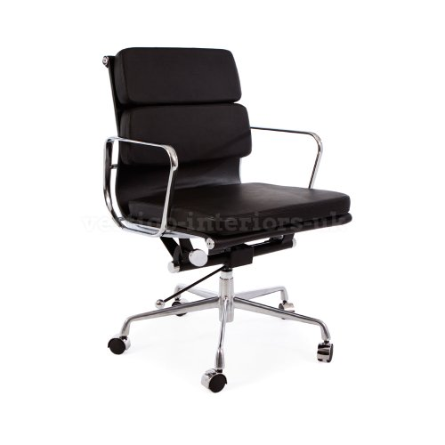 *Set Of 2* High Quality Eames Style Soft Pad Office Chair - Black Leather - Castor Base front-158717