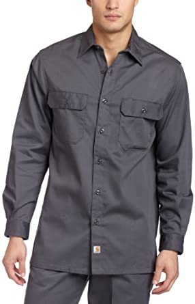 Carhartt Men's Long Sleeve Twill Work Shirt,Dark Grey,Medium Regular