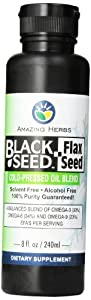 Amazing Herbs Black Seed and Flax Seed Oil Blend, 8 Fluid Ounce
