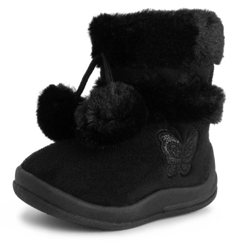 Kali Footwear Little Girl's Zello Glitter Pom Pom Boots, Black 04