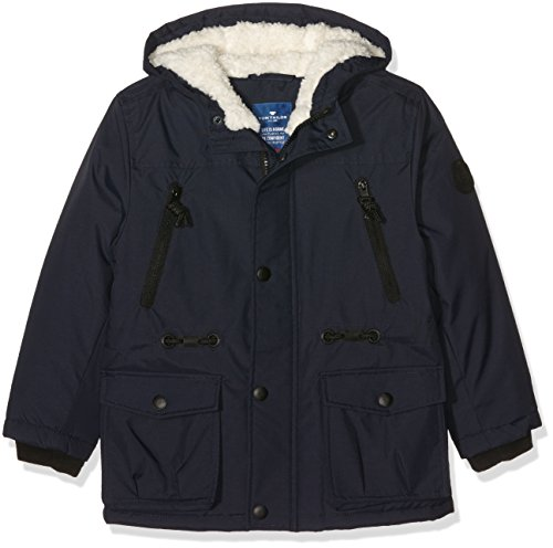 TOM TAILOR Kids Hooded Track Parka, Giacca Bambino, Blu (Knitted Navy), 110 cm (Taglia Produttore: 104/110)