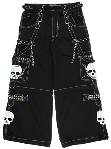 Tripp NYC Black & White Super Skull Mens Zip Off Pants (X-Large)