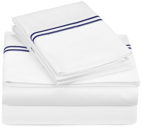 Pinzon 400-Thread-Count Egyptian Cotton Hotel Stitch Sheet Set - King, Navy (King Sheet Set Hotel compare prices)