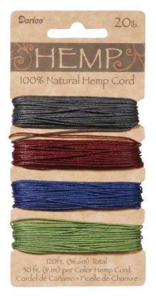 Darice Hemp Cord 20# 120 Feet/Pkg-Earthy Pastels