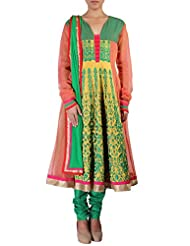 Kalki Fashion Peach And Lime Yellow Anarkali Suit Embellished In Resham Embroidery Only On Kalki
