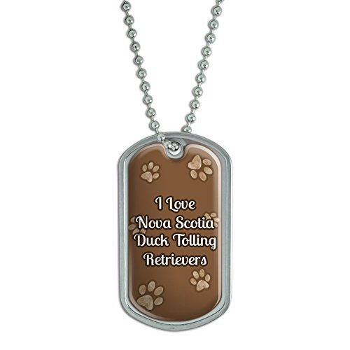 Dog Tag Pendant Necklace Chain I Love Heart Dogs N-R - Nova Scotia Duck Tolling Retrievers