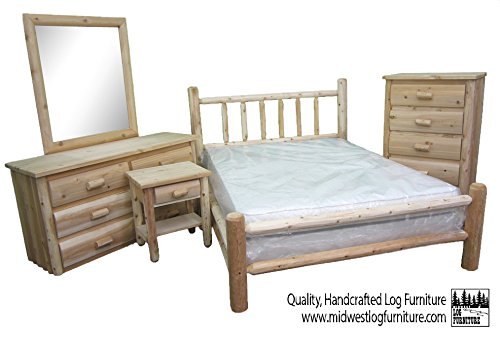 Midwest Log Furniture - 5 Piece Queen White Cedar Log Bedroom Suite