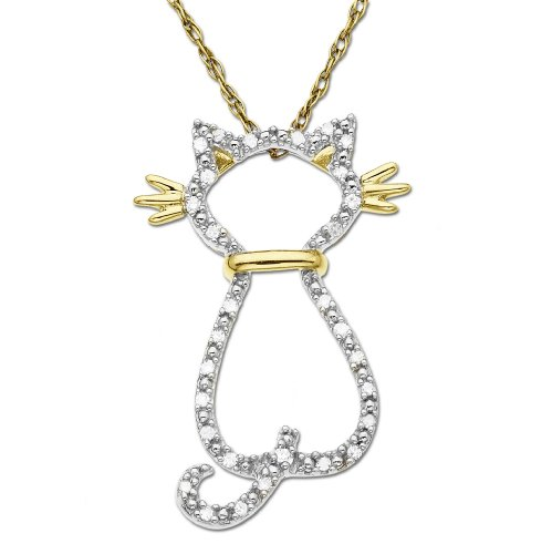 10k Yellow Gold Diamond Cat Pendant (.08 cttw)