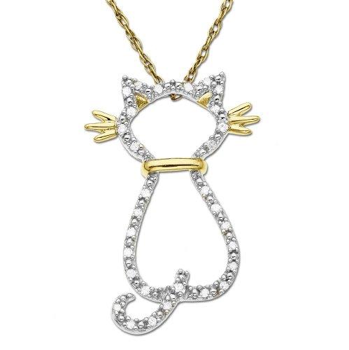 10k Yellow Gold Diamond Cat Pendant (.08 cttw)