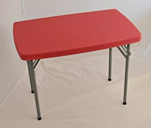 Folding Kids Table : Small childrens / childs folding trestle table in Red: Amazon.co.uk ...