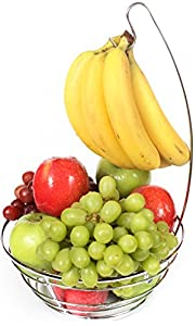 Value Saving Exclusive Wire Chrome Fruit Bowl with Embedded Banana Hanger Holder Tree