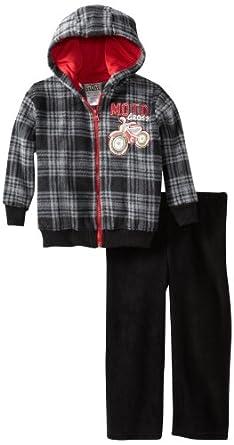 Little Rebels Little Boys' 2 Piece Plaid Motocross Jackethood And Pant, Black, 7
