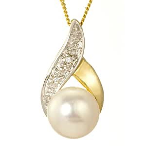 Ornami 9 ct Yellow Gold Glamour Accent Pendant with 46 cm Chain
