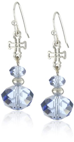 The Vatican Library Collection Kingdom Aquamarine Cross Earrings