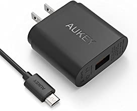 [Qualcomm Certified] Aukey Quick Charge 2.0 18W USB Turbo Wall Charger Fast Charger (Included an 20AWG 3.3ft Micro USB Cable: Less Resistance, Faster Charging Speed) -Black
