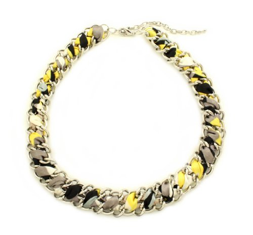 Poshlocket - Shelly Fabric Choker in Silver YellowGray