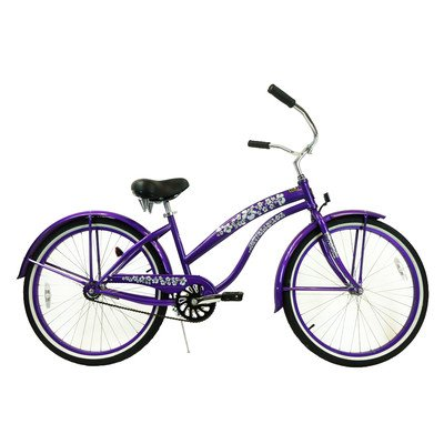 Women's Single Speed Premium Beach Cruiser Frame Color: Purple