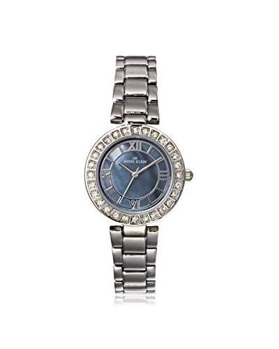 Anne Klein Women's Swaroski Steel Watch, Silver/Dark Blue