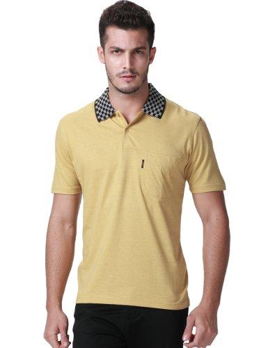 Sslr Men'S Checkered Pattern Collar Polo Shirt (Medium, Yellow)