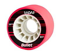 Radar Bullet Neon Pink Wheels - 91A Riedell Roller Derby Speed Wheel