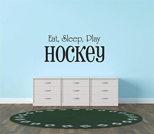 Design with Vinyl Hope 32-411 Decor Item Decal Vinyl Wall Sticker Eat Sleep Play Hockey Sports Quote Sign Car Bumper Window Banner Kids, 12-Inch x 26-Inch, Black